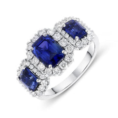 Platinum 2.63ct Sapphire Diamond Trilogy Cluster Ring