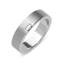 Platinum Diamond Baguette Cut Satin Wedding Ring