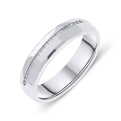 Platinum Diamond Court Shaped Wedding Ring