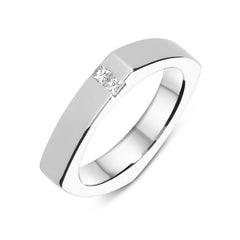 Platinum Diamond Cushion Shaped Wedding Ring