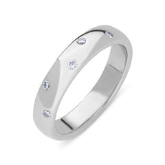 Platinum Diamond Five Stone Court Shaped Wedding Ring