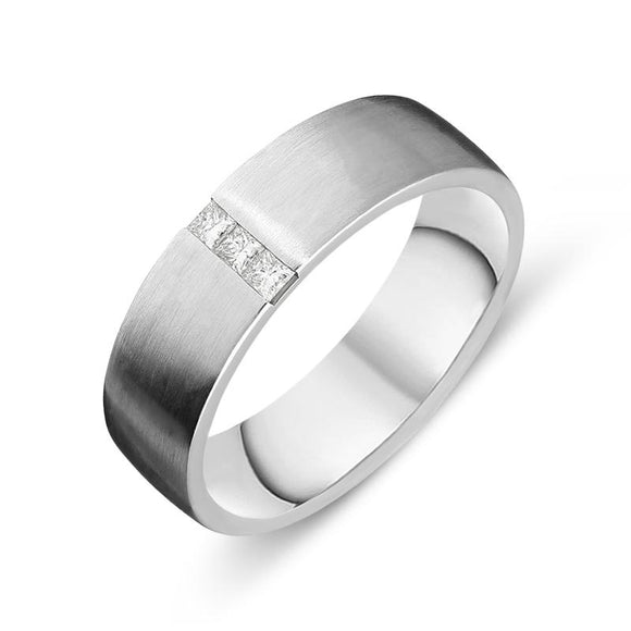 Platinum Diamond Princess Cut Satin Wedding Ring, FJT-055.