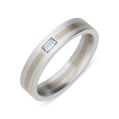 Platinum and 18ct Rose Gold Diamond Baguette Cut Wedding Ring