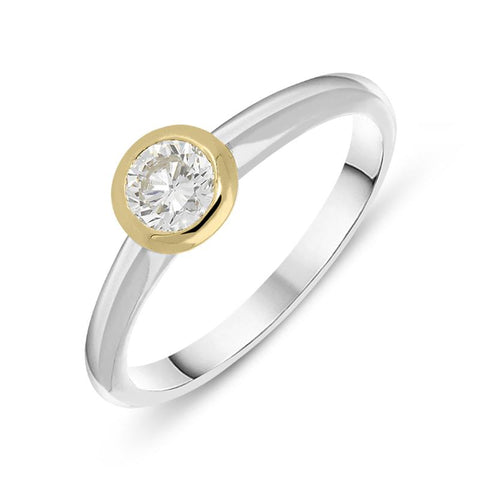 Platinum and 18ct Yellow Gold 0.42ct Diamond Solitaire Ring
