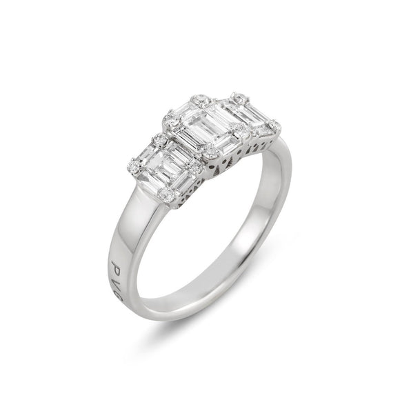 Ponte Vecchio Benvenuto 18ct White Gold 0.93ct Diamond Cluster Trilogy Ring, CA1512-90BRW.