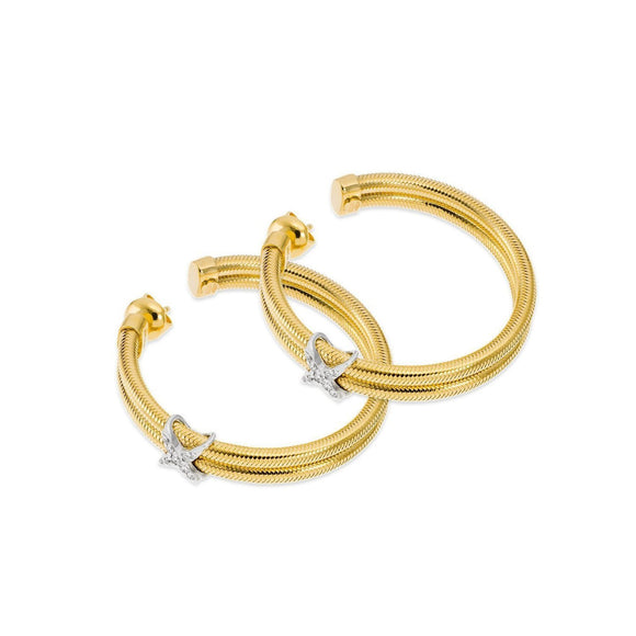 Ponte Vecchio Nobile 18ct Yellow Gold 0.14ct Diamond Crossover Hoop Earrings, CO1370BRY.