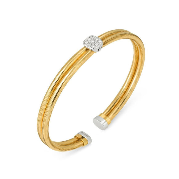 Ponte Vecchio Nobile 18ct Yellow Gold 0.17ct Diamond Two Row Bangle, CB1184BRY.