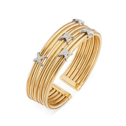 Ponte Vecchio Nobile 18ct Yellow Gold 0.37ct Diamond Crossover Bangle, CB1373BRY.