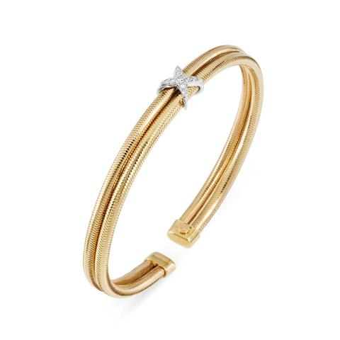Ponte Vecchio Nobile 18ct Yellow Gold Diamond Crossover Bangle, CB1370BRY.