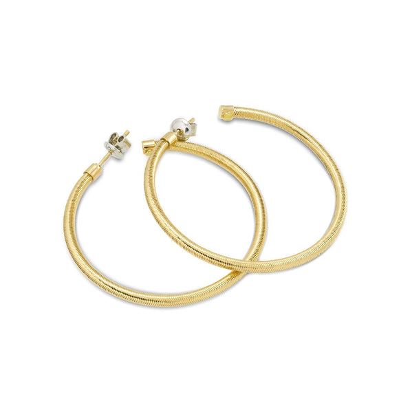 Ponte Vecchio Nobile 18ct Yellow Gold Stainless Steel Hoop Earrings, CO1157Y.
