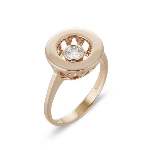 Ponte Vecchio Vega 18ct Rose Gold 0.15ct Diamond Open Circle Ring, CA670BRR.