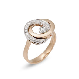 Ponte Vecchio Vega 18ct Rose Gold 0.24ct Diamond Halo Ring, CA693WR.