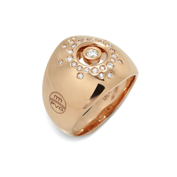Ponte Vecchio Vega 18ct Rose Gold 0.28ct Diamond Broad Domed Ring, CA1120BRR.