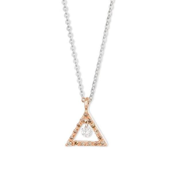 Ponte Vecchio Vega 18ct Rose Gold Diamond Triangle Necklace, CP1129BBR.