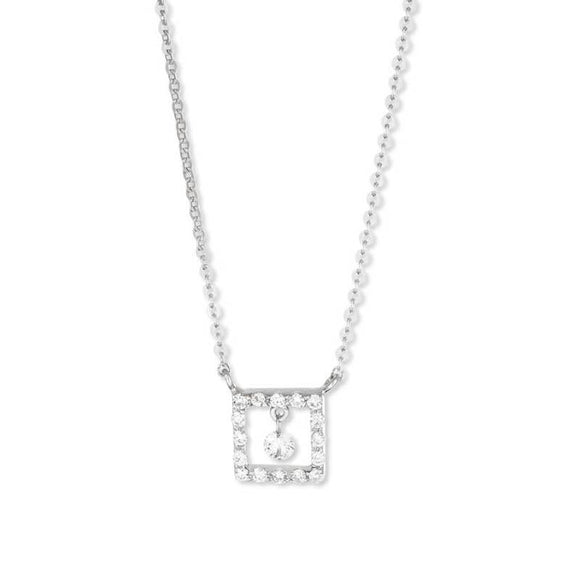 Ponte Vecchio Vega 18ct White Gold 0.13ct Diamond Square Necklace, CP1126BRW.