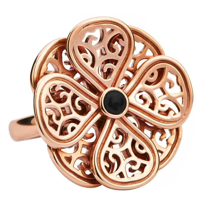 9ct Rose Gold and Whitby Jet Flore Eight Petal Flower Ring