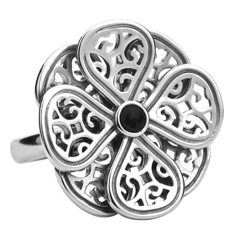 Sterling Silver and Whitby Jet Flore Eight Petal Flower Ring