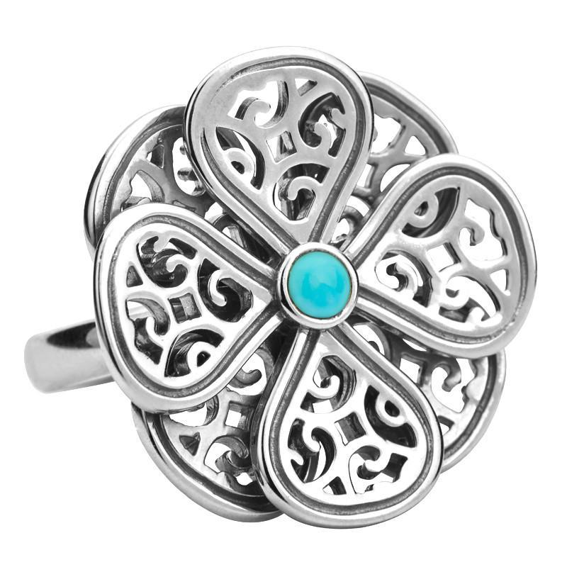 Ring Turquoise And Silver Flore Filigree Petal Double Layer Flower