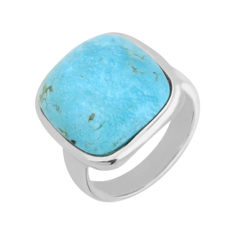 Silver Turquoise Medium Chunky Cushion Top Ring