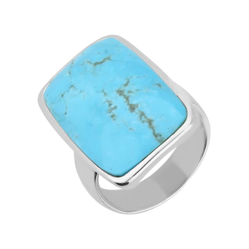 Sterling Silver Blue Turquoise Long Chunky Oblong Ring