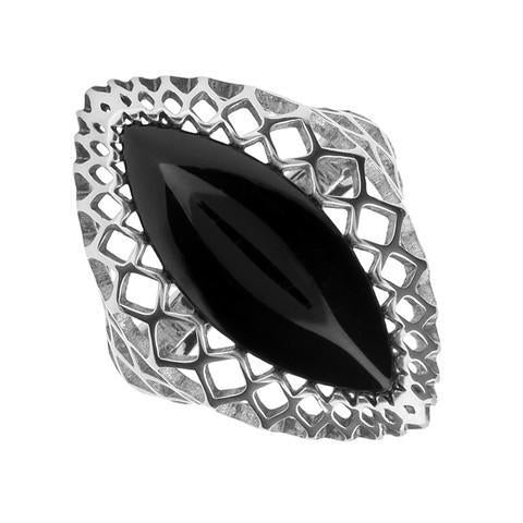 00121770 W Hamond Sterling Silver Whitby Jet Marquise Pierced Ring, R916.