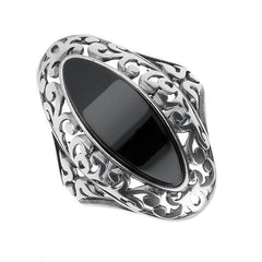 Sterling Silver Whitby Jet Marquise Fancy Pierced Edge Ring