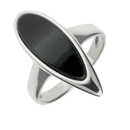 00124982 W Hamond Sterling Silver Whitby Jet Curved Pear Ring, R966.