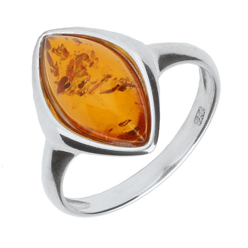Ring Amber And Silver Wide Marquise