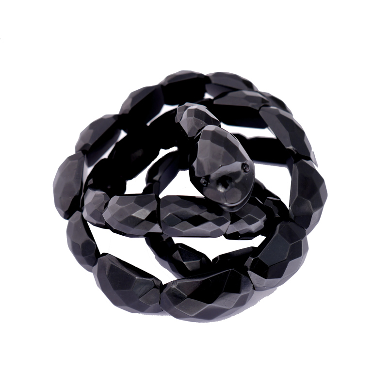 Antique Whitby Jet Faceted Coiling Snake Bracelet