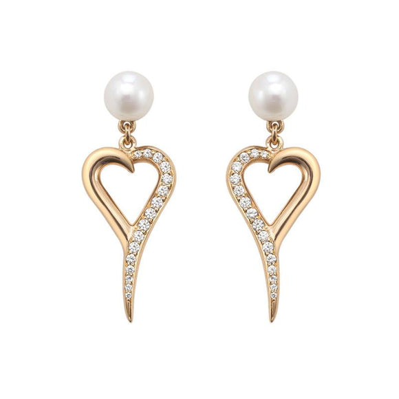 Shaun Leane 18ct Rose Gold 0.12ct Diamond White Pearl Entwined Heart Earrings SLD234R