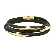 Shaun Leane Multi Arc Gold Vermeil Brown Leather Wrap Bracelet
