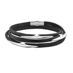 Shaun Leane Multi Arc Silver Black Leather Wrap Bracelet