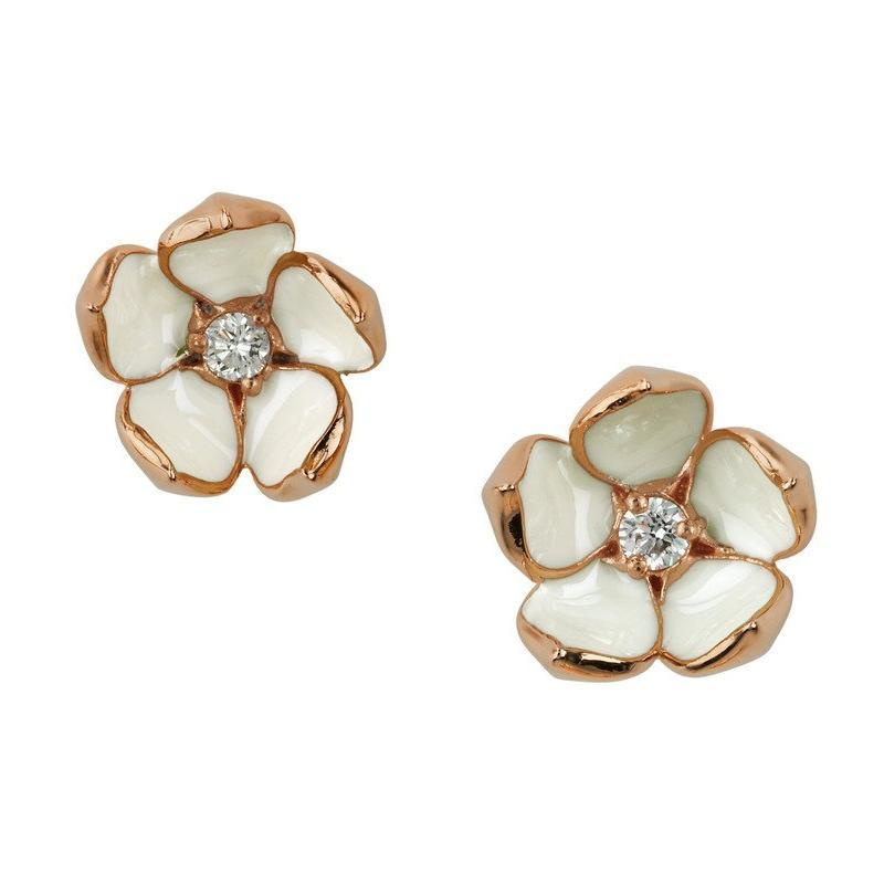 Shaun Leane Rose Gold Vermeil 0.14ct Diamond Large Cherry Blossom Stud Earrings