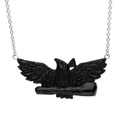 Sterling Silver Whitby Jet Eagle Necklace