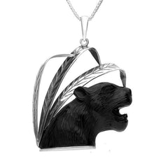 Sterling Silver Whitby Jet Puma Head and Leaf Necklace
