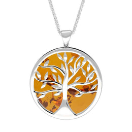 W Hamond Sterling Silver Amber Large Round Tree of Life Necklace, P3418
