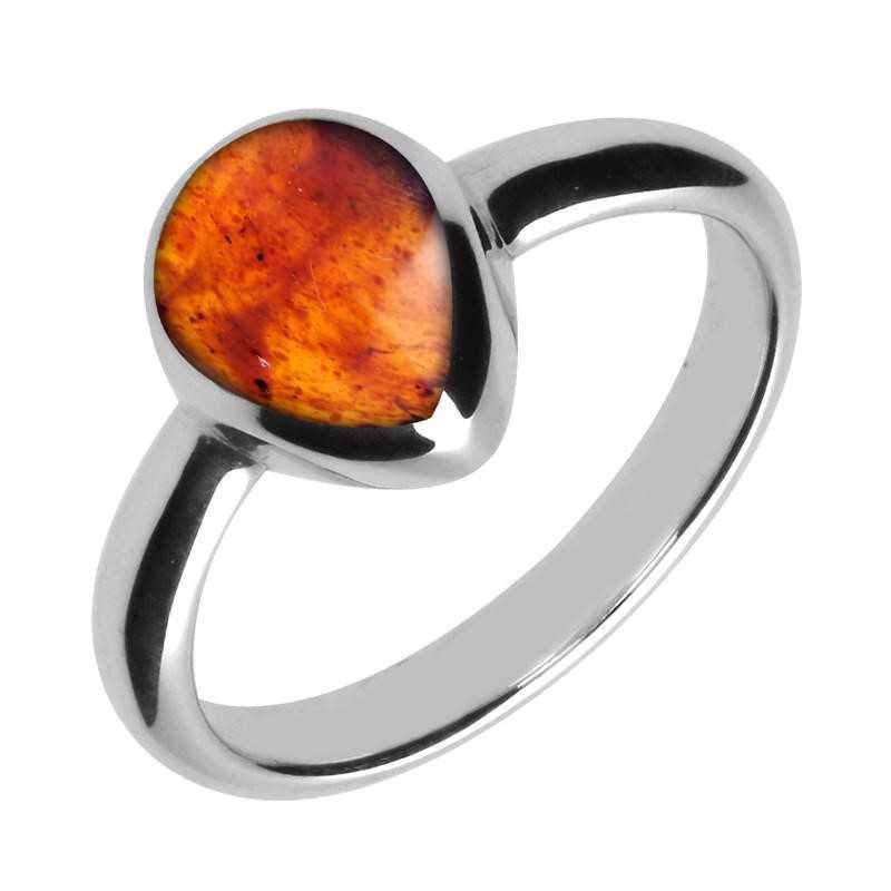 Silver And Amber Pear Shaped Ring