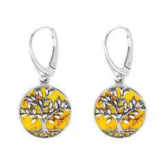Sterling Silver Amber Round Large Tree of Life Leaves Drop Earrings