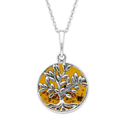 W Hamond Sterling Silver Amber Round Large Leaves Tree of Life Two Piece Set, E2427 & P3340.