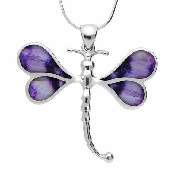 Sterling Silver Blue John Four Stone Dragonfly Necklace