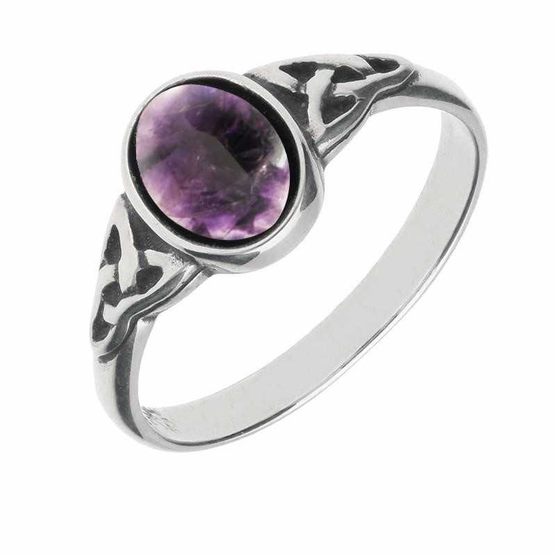 Sterling Silver Blue John Oval Celtic Shoulder Ring