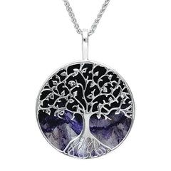 Sterling Silver Blue John Round Tree Of Life Necklace