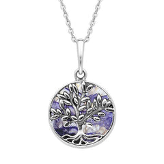 Sterling Silver Blue John Small Round Tree of Life Leaves Necklace