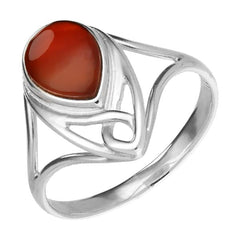 Sterling Silver Carnelian Pear Shaped Celtic Ring