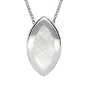 00157037 W Hamond Sterling Silver Mother of Pearl Framed Marquise Necklace, P861.