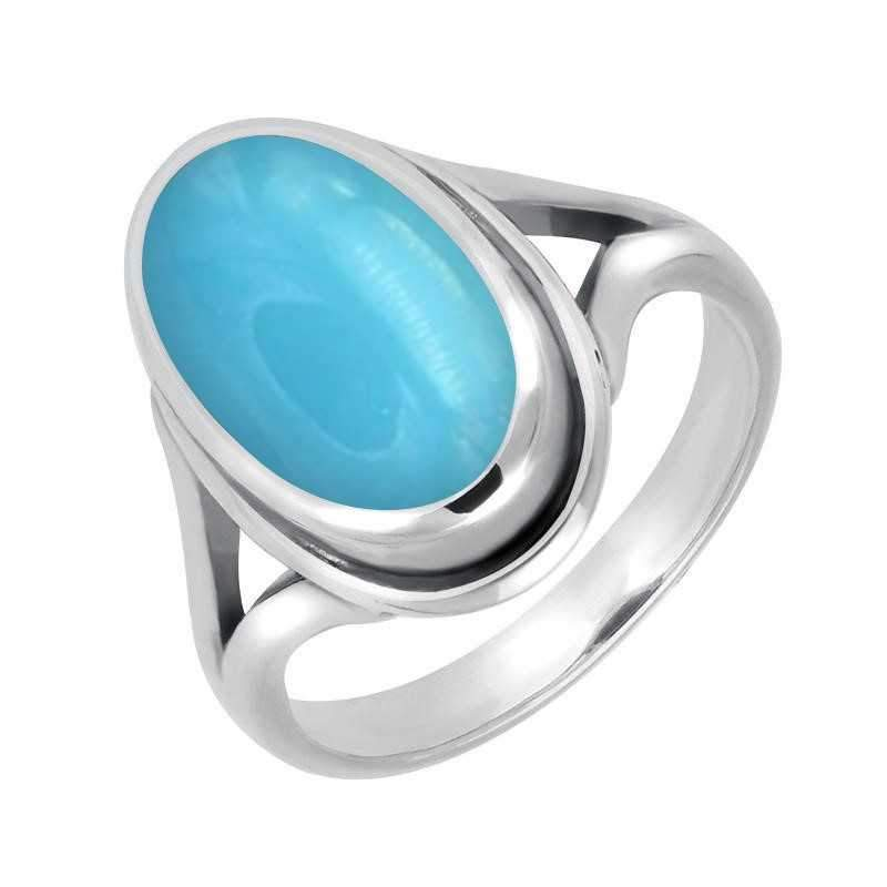 Sterling Silver Turquoise Plain Ribbed Ring