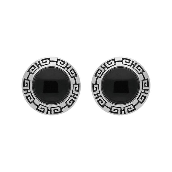 00121822 W Hamond Sterling Silver Whitby Jet Greek Edge Stud Earrings, E2047.