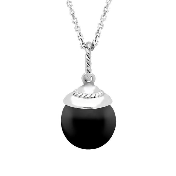 00150791 W Hamond Sterling Silver Whitby Jet Round Bead Drop Necklace P3138