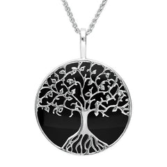 Sterling Silver Whitby Jet Round Tree Of Life Necklace