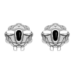 00178599 W Hamond Sterling Silver Whitby Jet Sheep Stud Earrings, E2530.
